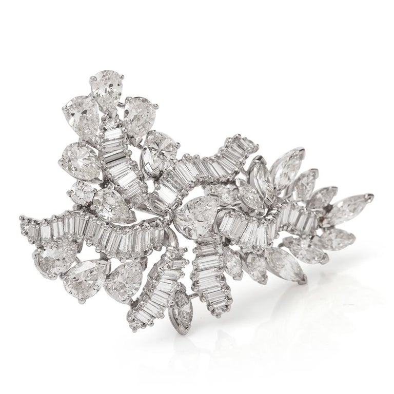 1960s Cluster Diamond Swirl Platinum Pin Brooch For Sale 3