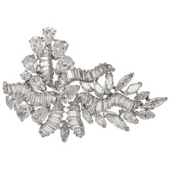 1960s Cluster Diamond Swirl Platinum Pin Brooch