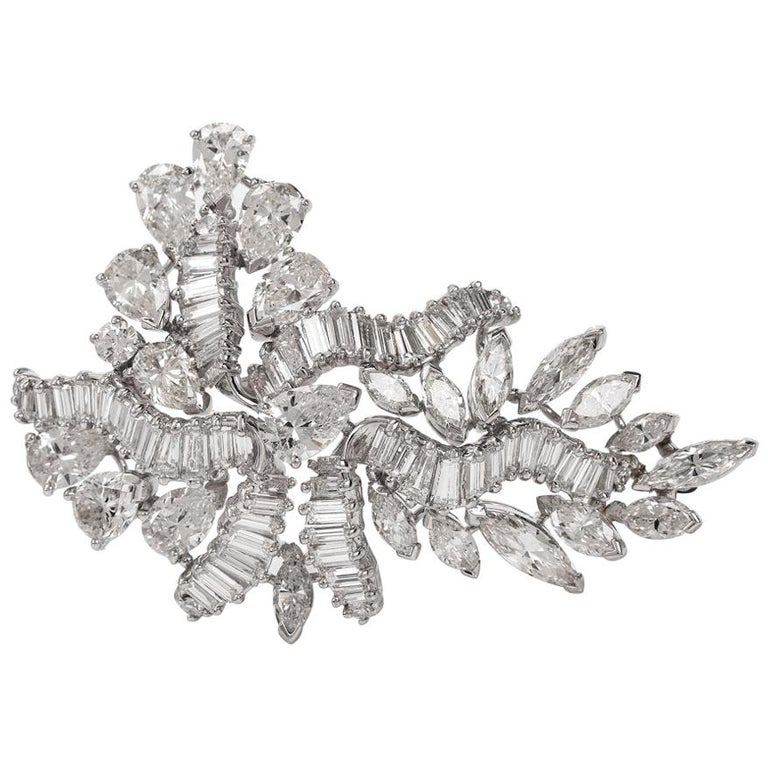 1960s Cluster Diamond Swirl Platinum Pin Brooch For Sale