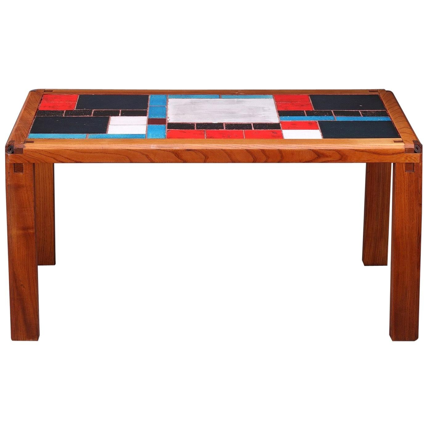1960s Coffee Table in Elm and Ceramic by Pierre Chapo