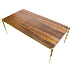 1960s Coffee Table Rectangular Solid Rosewood Top on a Brass Metal Base, Borsani
