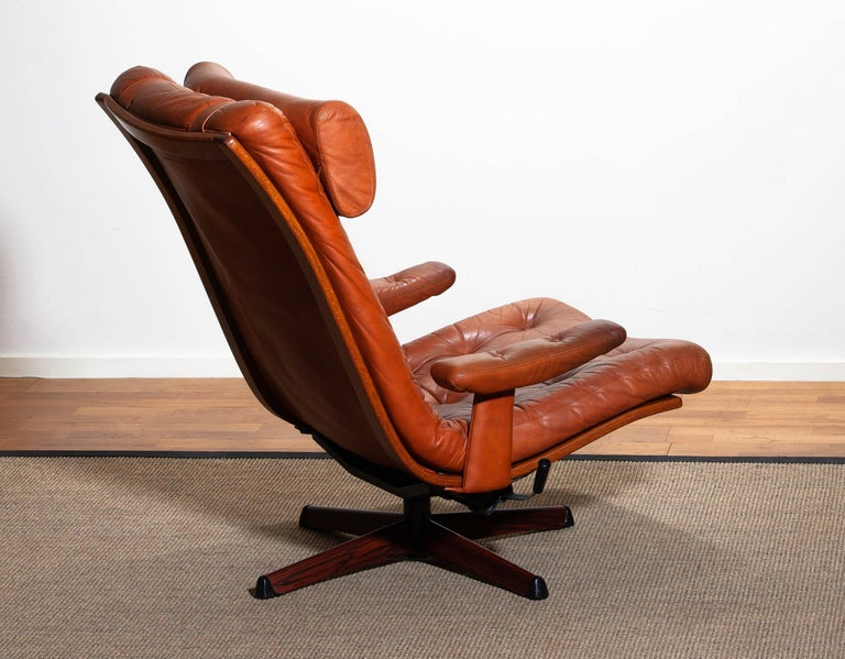 1960s, Cognac Leather Swivel / Relax Lounge Easy Chair by Göte Design Nässjö For Sale 3