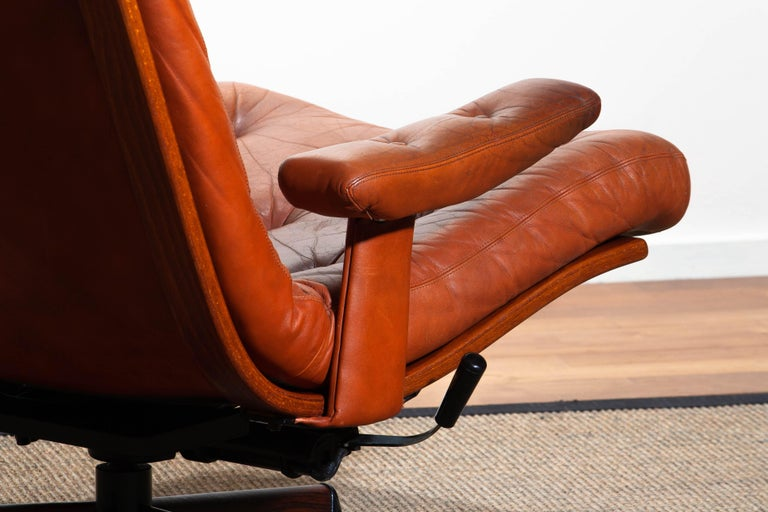 1960s, Cognac Leather Swivel / Relax Lounge Easy Chair by Göte Design Nässjö For Sale 5
