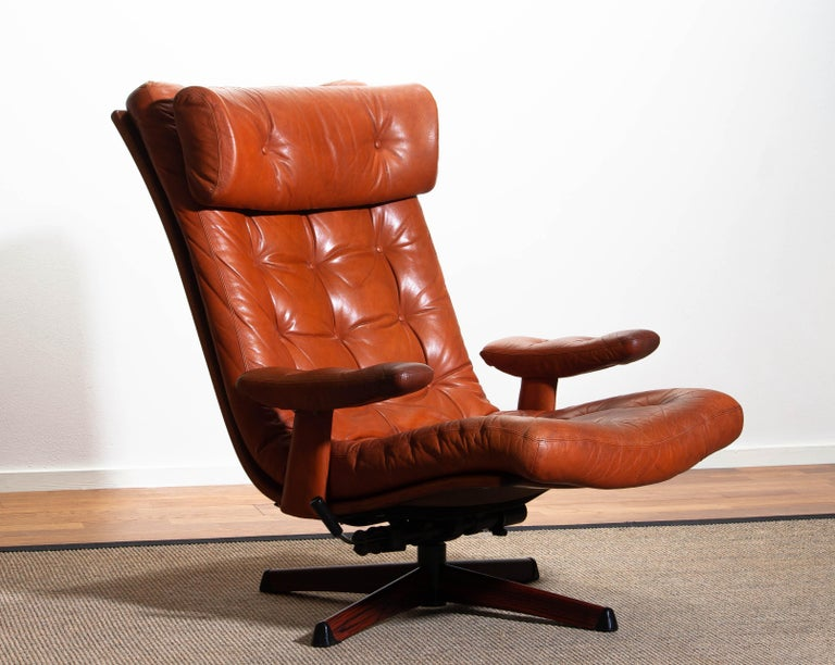 Mid-Century Modern 1960s, Cognac Leather Swivel / Relax Lounge Easy Chair by Göte Design Nässjö For Sale