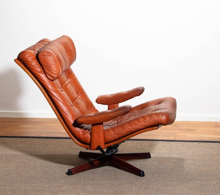 Mid-20th Century 1960s, Cognac Leather Swivel / Relax Lounge Easy Chair by Göte Design Nässjö For Sale