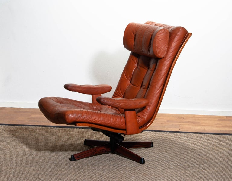 Metal 1960s, Cognac Leather Swivel / Relax Lounge Easy Chair by Göte Design Nässjö For Sale