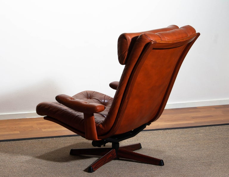 1960s, Cognac Leather Swivel / Relax Lounge Easy Chair by Göte Design Nässjö For Sale 1