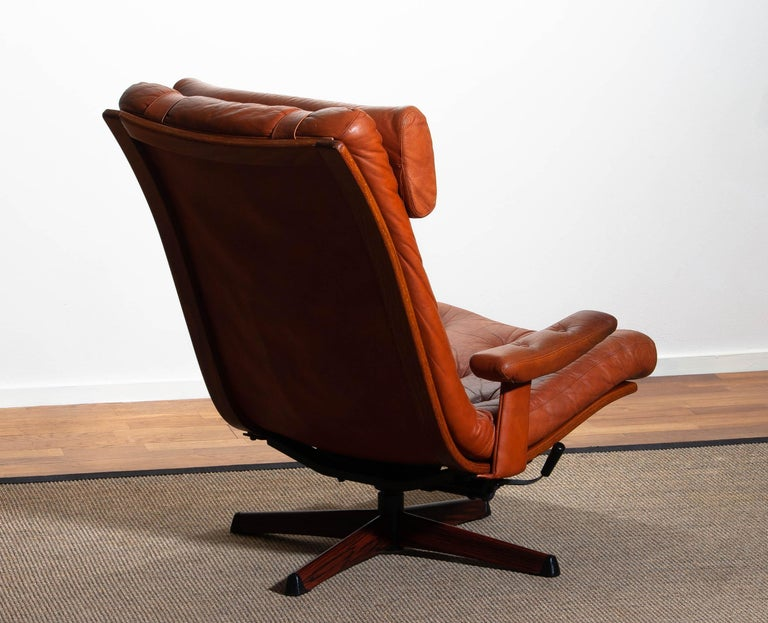 1960s, Cognac Leather Swivel / Relax Lounge Easy Chair by Göte Design Nässjö For Sale 2