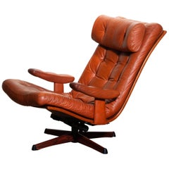 1960s, Cognac Leather Swivel / Relax Lounge Easy Chair by Göte Design Nässjö