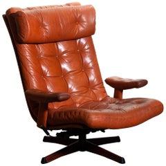 1960s, Cognac Leather Swivel / Relax Lounge Easy Chair by Göte Design Nässjö
