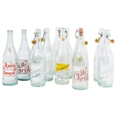 1960s Collection of French Decorative Soda Pop Bottles