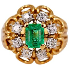 1960s Colombian Emerald and Diamond Gold Ring