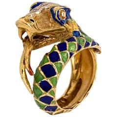 1960s Colorful Enamel Diamond Snake Wrap Around Ring 18 Karat Yellow Gold