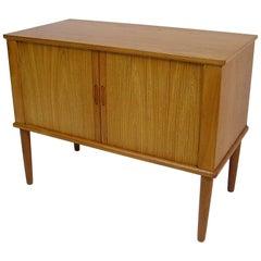 1960s Compact Tambour Door Teak Record Cabinet, Denmark