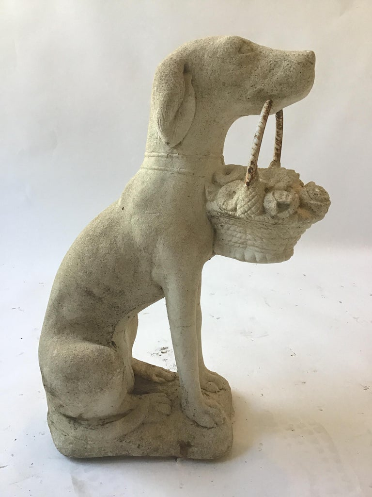 1960s Concrete Dog Holding Basket of Flowers In Good Condition For Sale In Tarrytown, NY