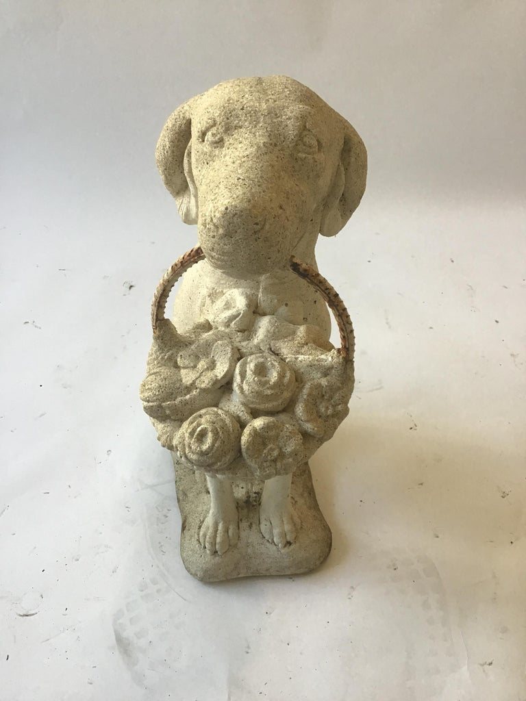 Mid-20th Century 1960s Concrete Dog Holding Basket of Flowers For Sale