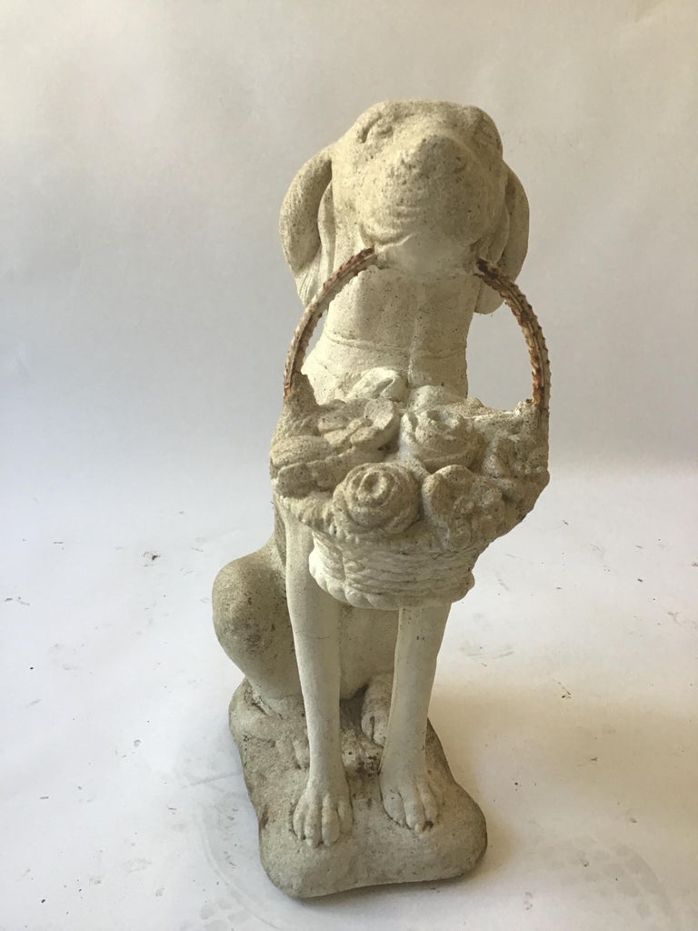 1960s Concrete Dog Holding Basket of Flowers For Sale 1