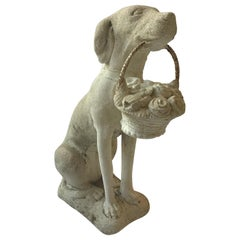 1960s Concrete Dog Holding Basket of Flowers