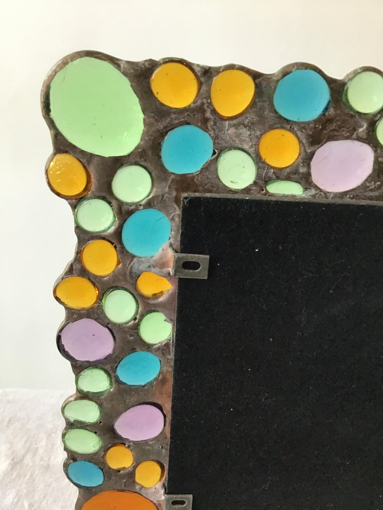 1960s Copper Picture Frame with Inset Glass Jewels For Sale 6