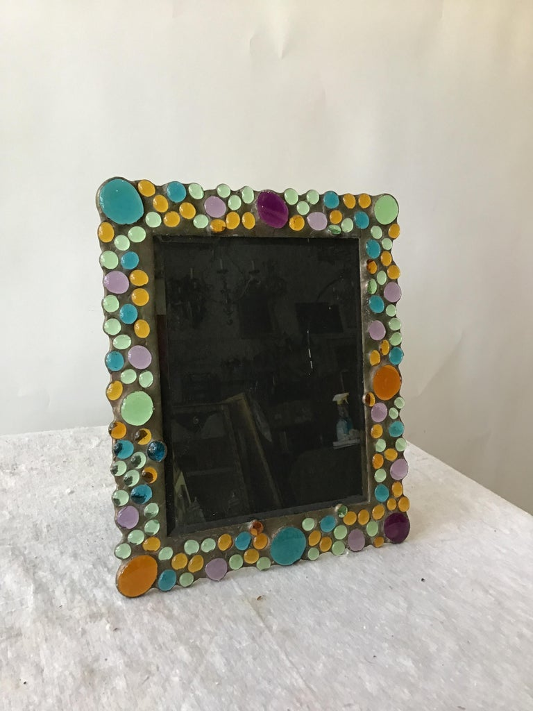 1960 copper picture frame with inset glass jewels.