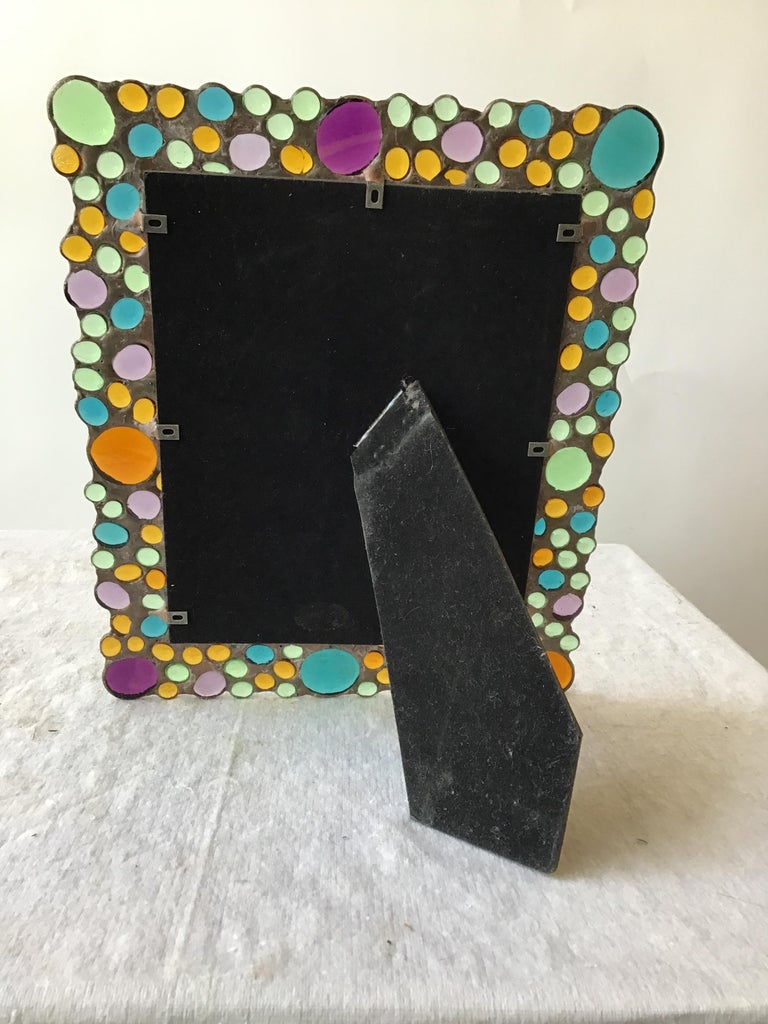 1960s Copper Picture Frame with Inset Glass Jewels For Sale 5