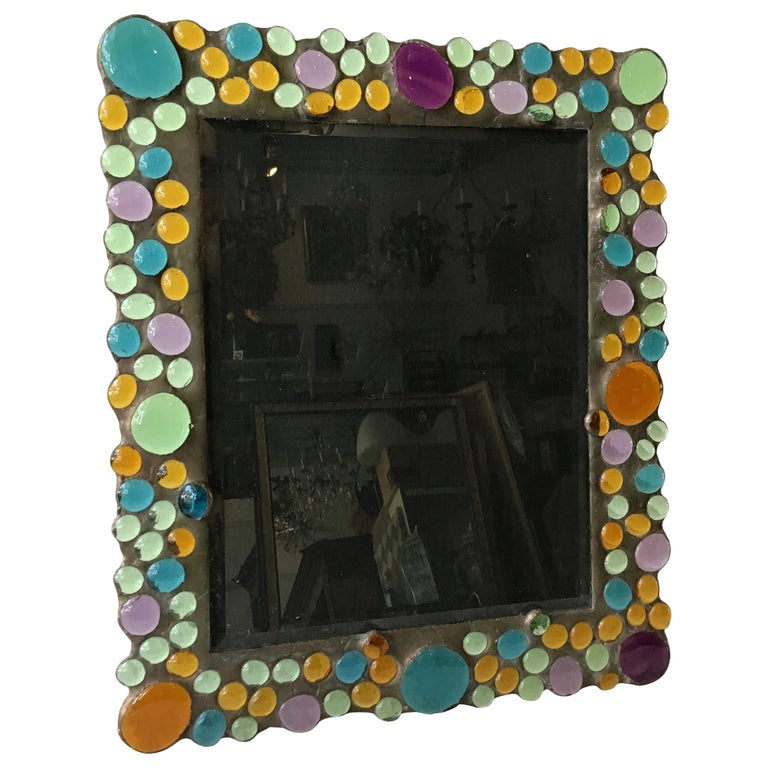 1960s Copper Picture Frame with Inset Glass Jewels For Sale