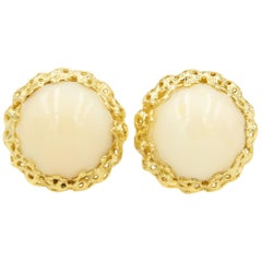 1960s Coral Button Yellow Gold Clip-On Earrings