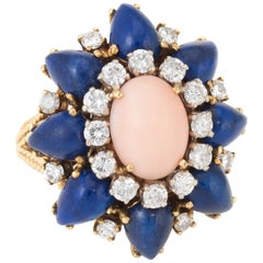 1960s Coral Lapis Diamond Cocktail Ring Vintage 14 Karat Gold Estate Jewelry