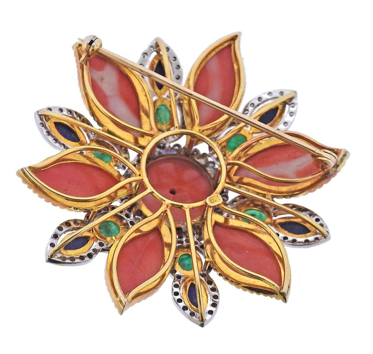 Vintage, circa 1960s 18k gold large brooch, set with coral, lapis, emerald and approx. 2.00ctw in Si1/Si2-H diamonds. Brooch is 62mm x 62mm. Weight - 50.2 grams. Marked 18k.