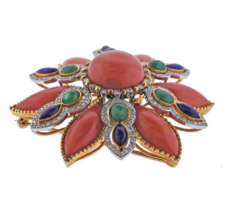 Cabochon 1960s Coral Lapis Emerald Diamond Gold Brooch Pin For Sale