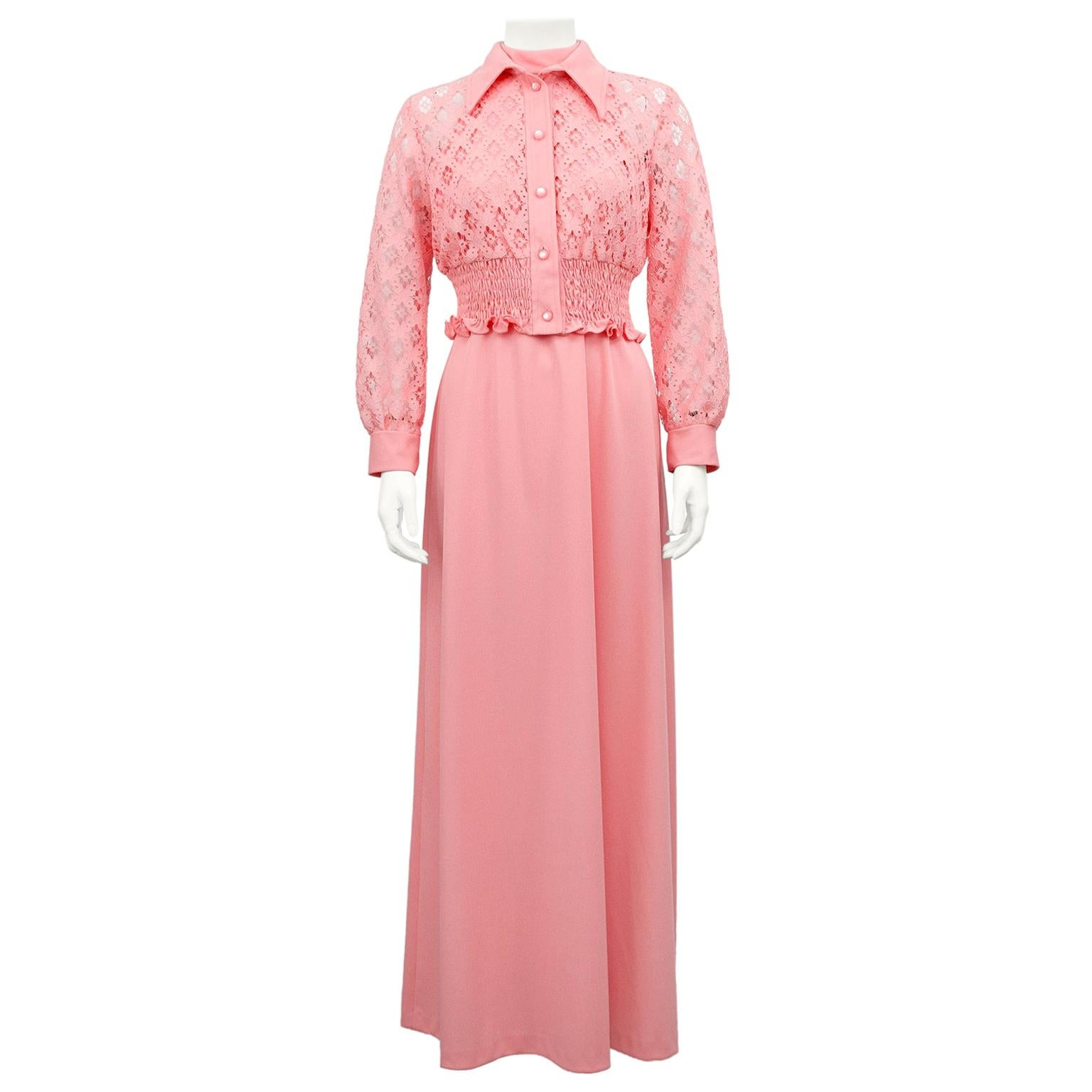 1960s Coral Pink Halter Day Gown and Jacket Ensemble