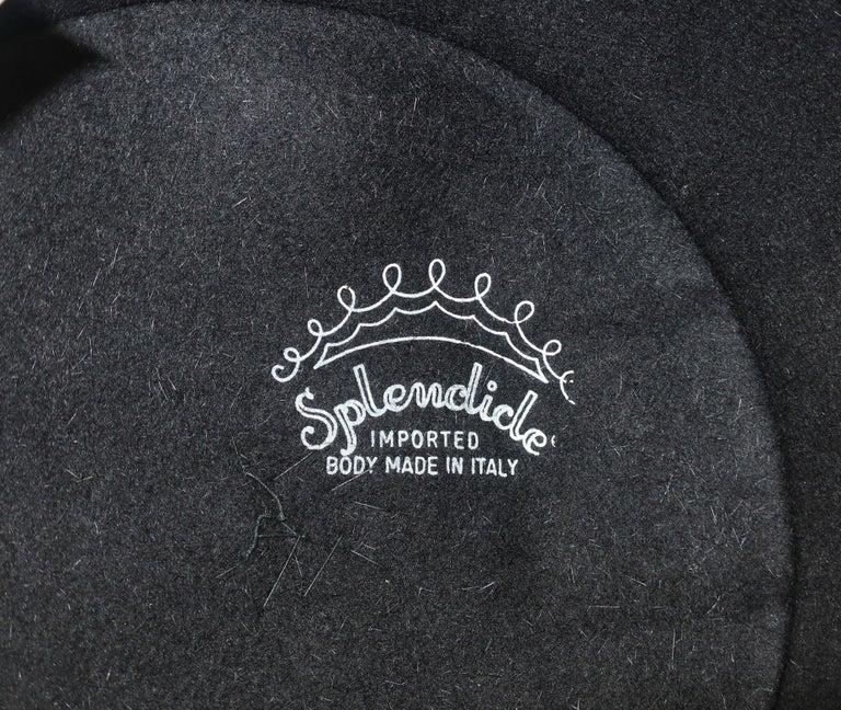 1960's Coralie Black Mohair & Rhinestone Toque Turban Style Hat For Sale 7