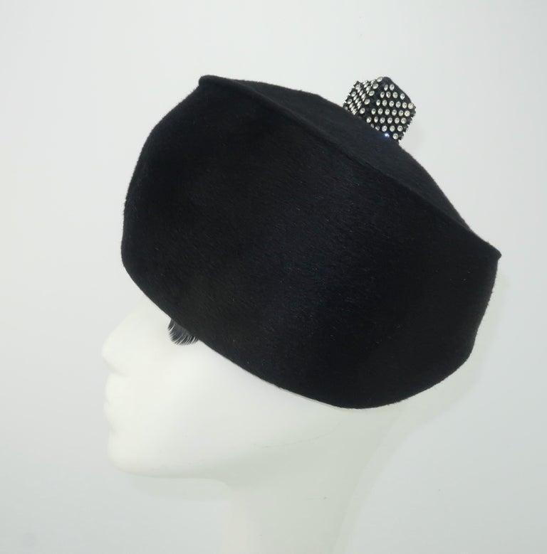 1960's Coralie Black Mohair & Rhinestone Toque Turban Style Hat In Good Condition For Sale In Atlanta, GA
