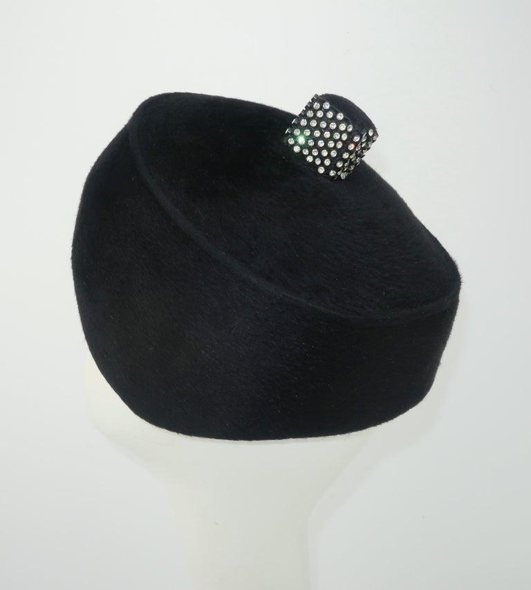 Women's 1960's Coralie Black Mohair & Rhinestone Toque Turban Style Hat For Sale