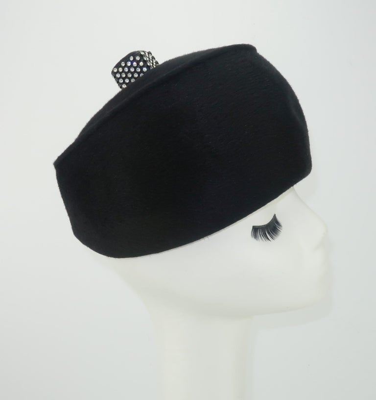 1960's Coralie Black Mohair & Rhinestone Toque Turban Style Hat For Sale 1