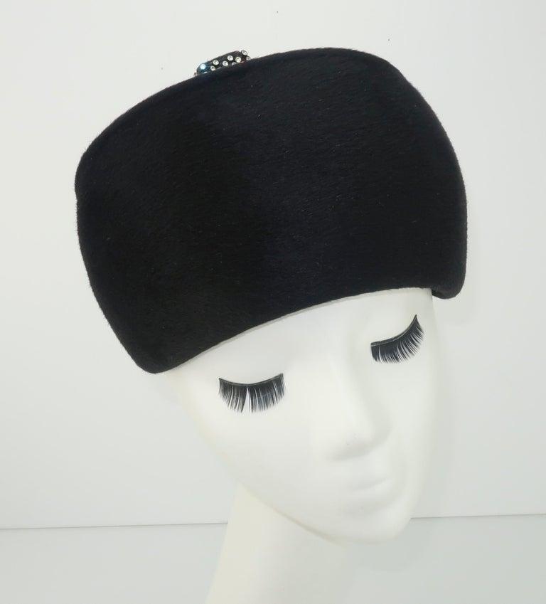 1960's Coralie Black Mohair & Rhinestone Toque Turban Style Hat For Sale 2