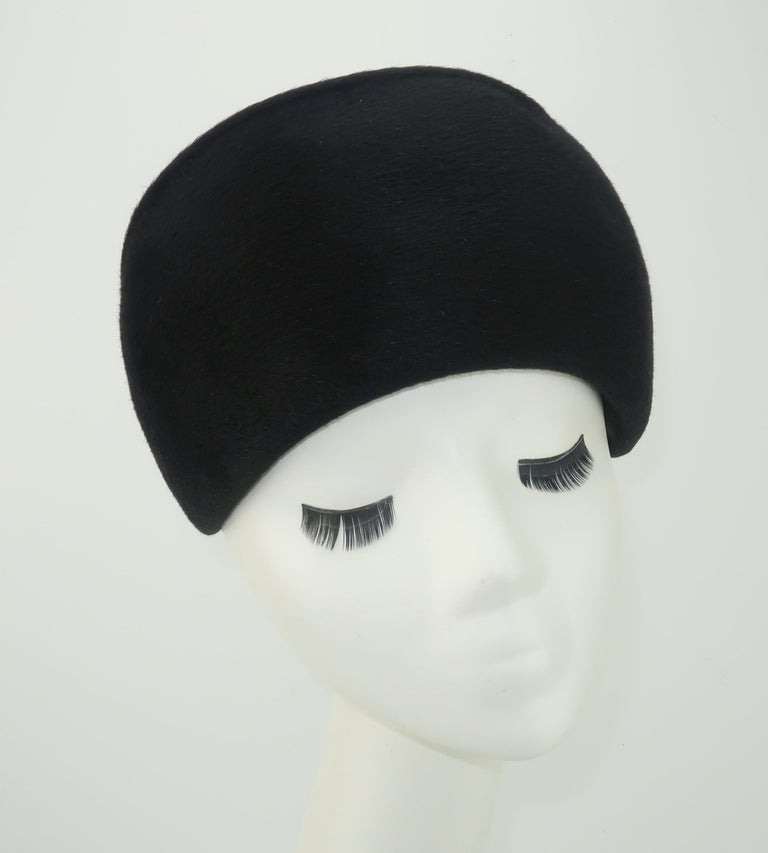 1960's Coralie Black Mohair & Rhinestone Toque Turban Style Hat For Sale 3