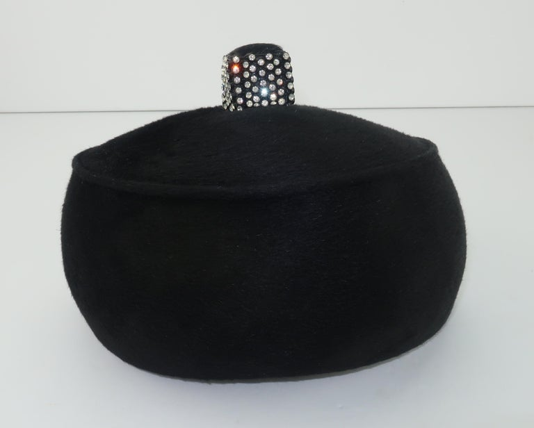 1960's Coralie Black Mohair & Rhinestone Toque Turban Style Hat For Sale 4