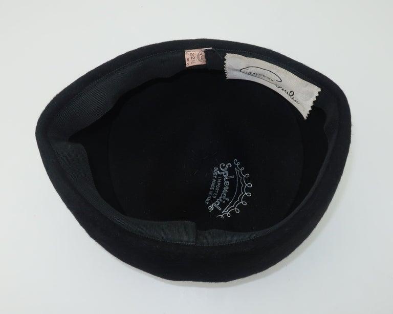 1960's Coralie Black Mohair & Rhinestone Toque Turban Style Hat For Sale 5