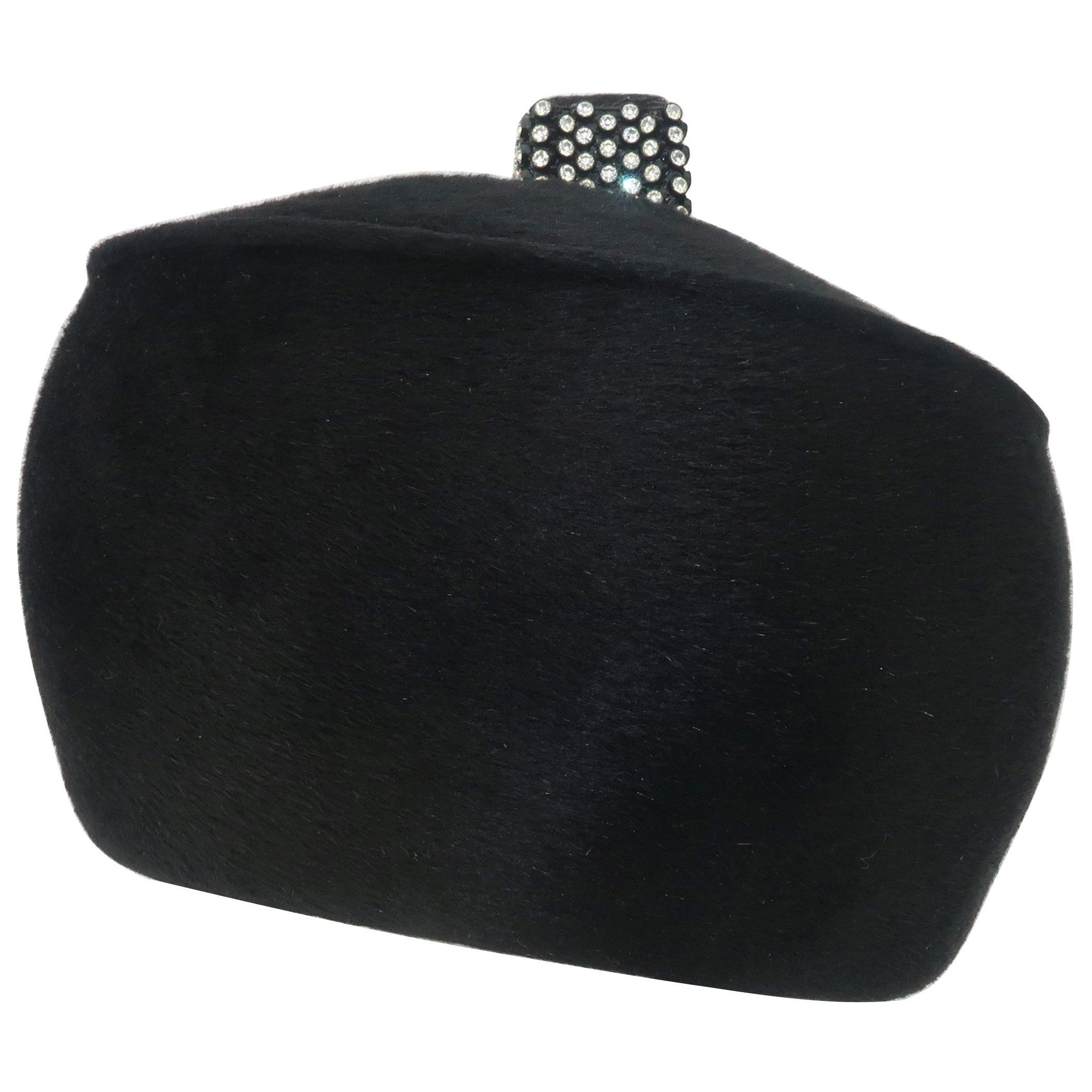 1960's Coralie Black Mohair & Rhinestone Toque Turban Style Hat