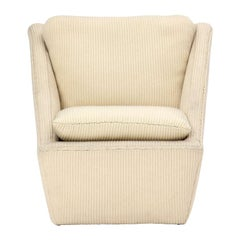 1960s Corduroy Upholstered Sculptural Lounge Chair
