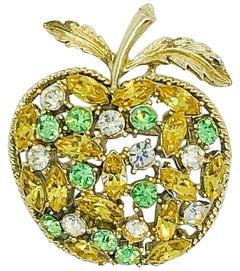 1960s Coro Apple Orange Green Clear Rhinestone Novelty Vintage 60s Brooch Pin