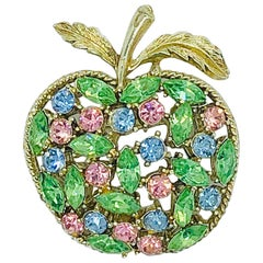 1960s Coro Apple Pink Green Blue Gold Novelty Rhinestone Vintage 60s Brooch Pin