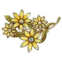 1960s Coro Signed Yellow + Gold Enamel Daisy Rhinestone Large Vintage Brooch Pin