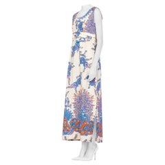 1960S  Cotton Barkcloth Hawaiian Gold Foil Printed Maxi Dress