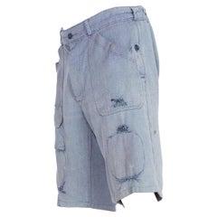 1950S Cotton Denim French Workwear Carpenter Shorts With Elasticated Waist