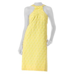 1960S Cotton Jaquard MOD Yellow Dress