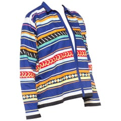 1960S Blue Cotton Seminole Indian Native American Bright Patchwork Jacket