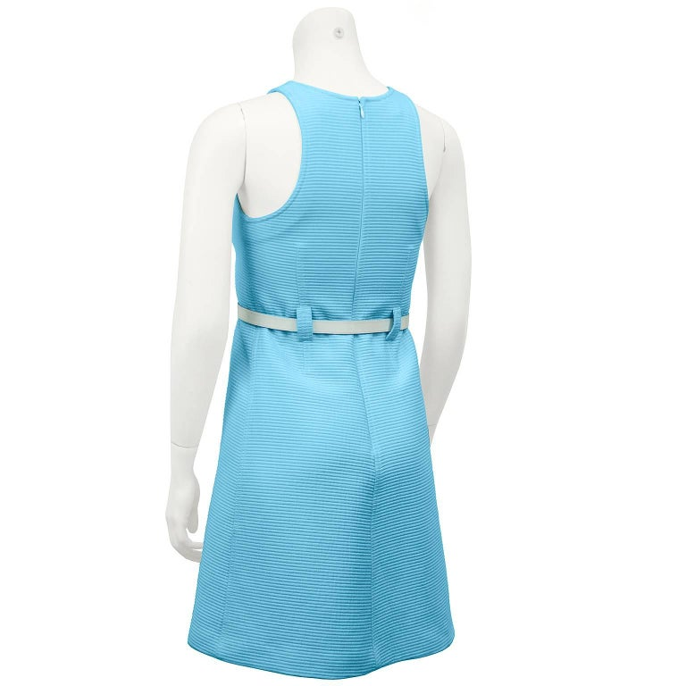 1960s Courreges Baby Blue Cotton Ribbed Day Dress with White Belt  In Excellent Condition For Sale In Toronto, Ontario
