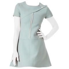 1960S COURREGES Baby Blue Wool Mod Shift Dress